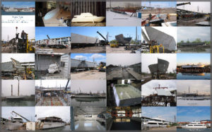 Collage of our cruise boats Yankee Lady III and IV being built in Toronto.