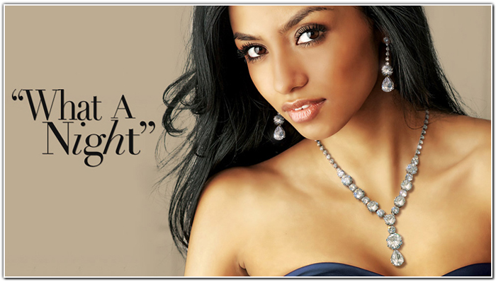 Head and shoulder photo of model desplaying a diamond necklace and earings as an example of an elegant bridal jewelry option.