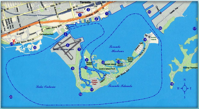Cruise route map of Toronto Harbour showing points of interest and route we normally cruise around the Toronto Islands.