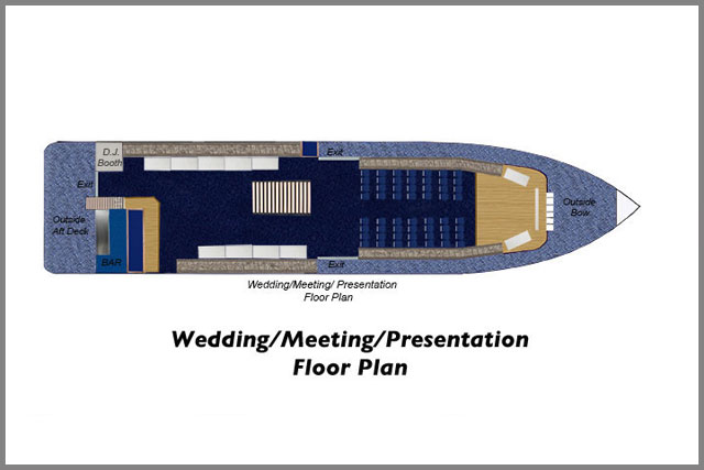 Floor plans for Wedding/Meeting/Presentations for our cruise boats.