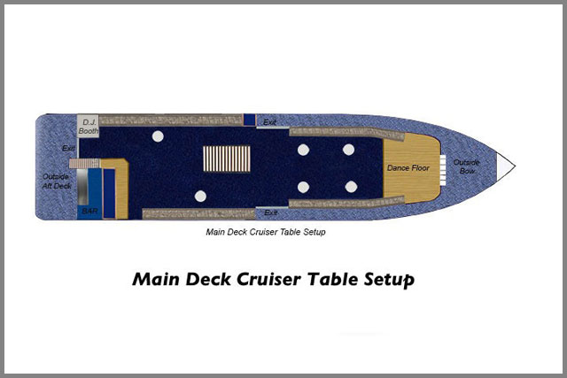 Main Deck Cruiser Table floor plans for our cruise boats.
