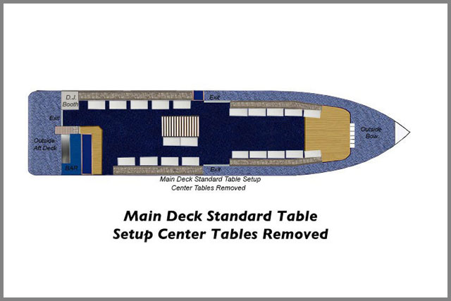 Floor plans for our Main Deck Standard Table Setup Center Tables removed on our two cruise boats.
