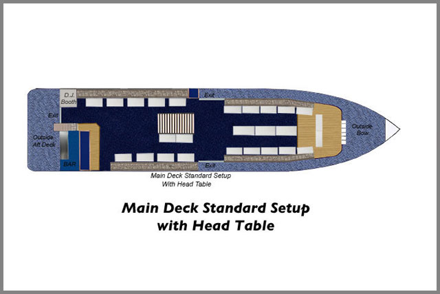 Floor plans for main deck standard setup with head table of our cruise boats.