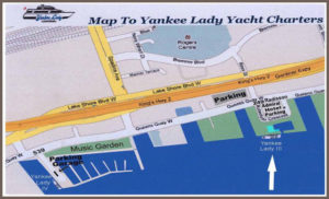 Toronto harbour map showing the dock location of our cruise boat Yankee Lady III.