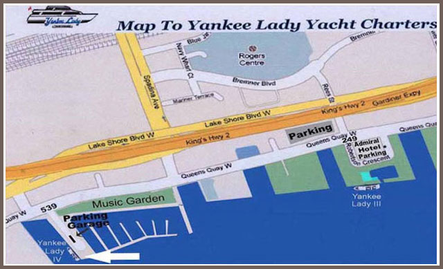 Map of Toronto harbour showing the dock for our cruise boat Yankee lady IV.