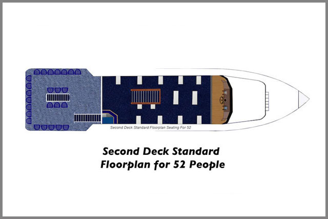 Second Deck Standard Floor plans for 52 People on our cruise boats.