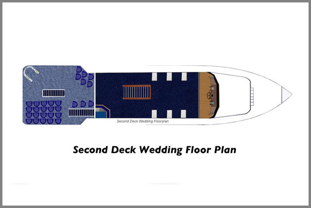 Second deck wedding floor plans for our two cruise boats.