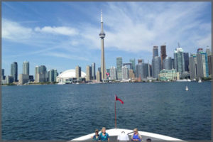 View of the CN Tower and Toronto skyline and a lovely afternoon cruise.