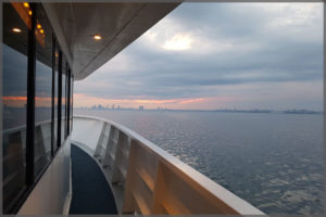 View of the Toronto harbour from the side deck of our Toronto cruise boat.