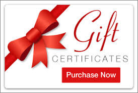 Gift certificate button with red bow and purchase now text also in red.