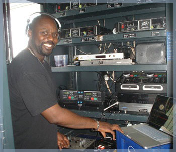 Disc Jockey Jerry Aaron of Groove U entertainment in the DJ booth.