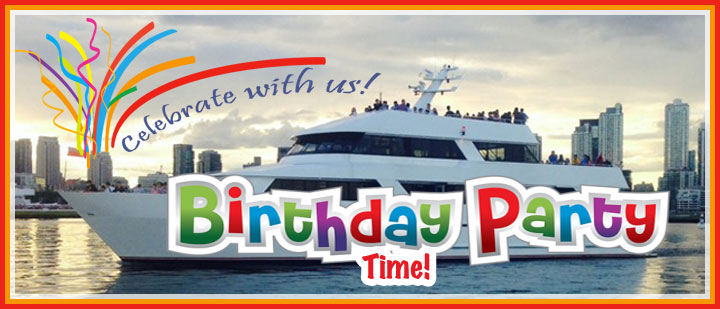 Birthday party banner with Toronto skyline and cruise ship for background.