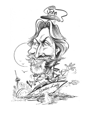 Caricature of owner John Greeley in black pen.