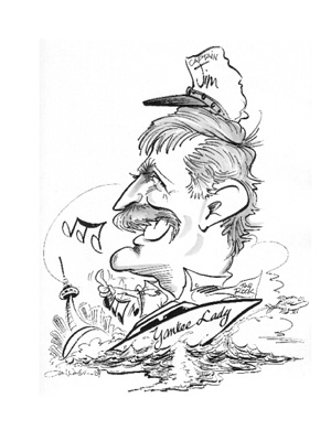 Caricature of owner Jim Greeley in black pen.