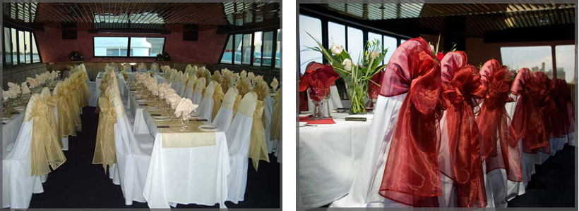 Collage of chair covers for weddings with gold on the left and rd on the right.