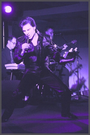 Cruise entertainment like Elvis impersonator James Begley doing his thing in purple overlay of image.