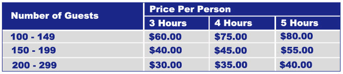 Pricing grid for university group cruises.