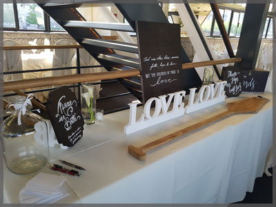 Welcome table with nautical theme for wedding decor.