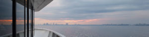 View of the Toronto skyline from the mail deck of a cruise ship.