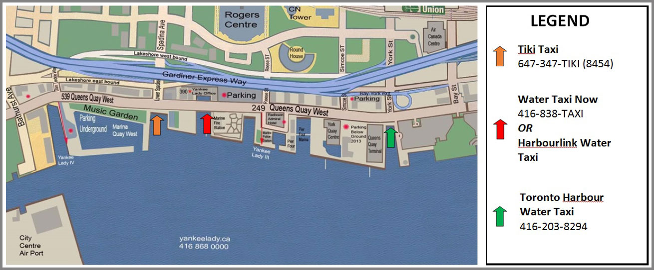 Harbour map showing Toronto water taxi dock locations.