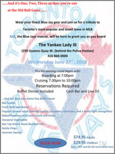 Blue jays baseball theme cruise flyer with cruise deatils.