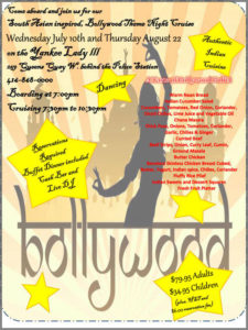 Flyer for our Bollywood theme cruise.