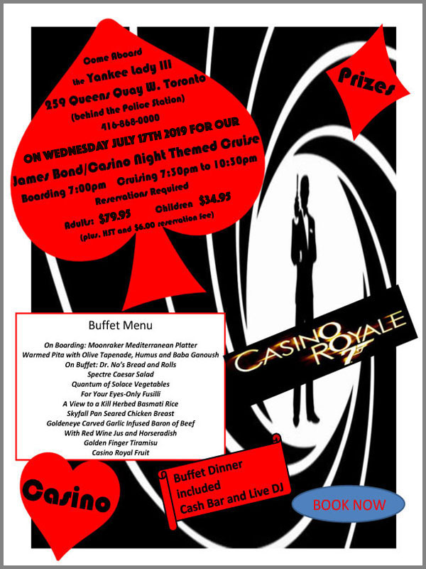 Flyer for our James Bond casino theme cruise.