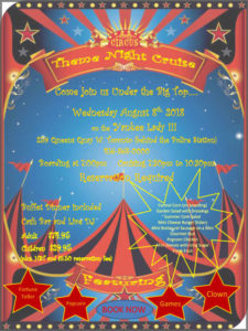 Flyer for our Circus theme cruise with cruise details.