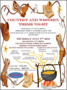 Flyer for our Country and Western theme cruise.