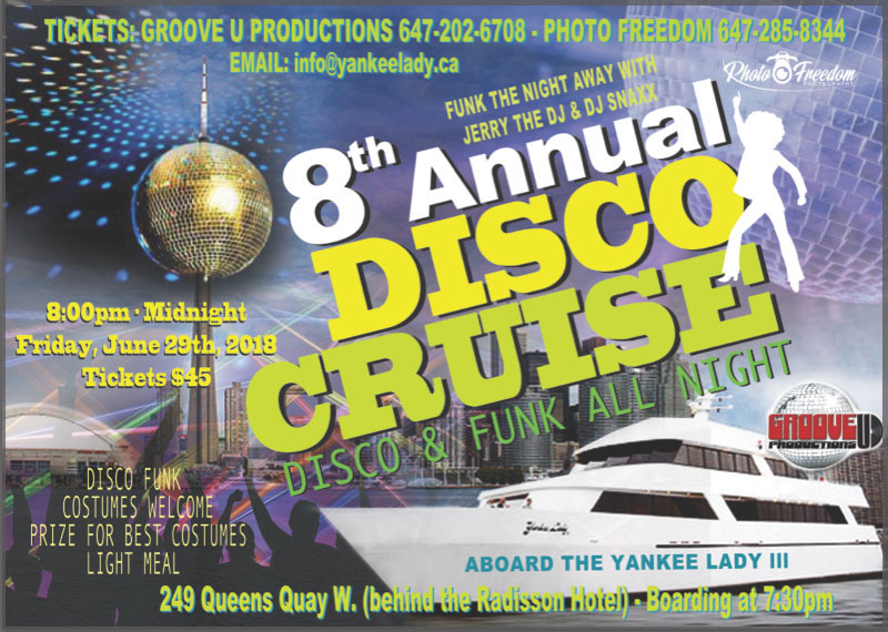 Flyer for our Disco dance cruise in Toronto.