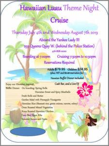 Flyer for our Hawaiian Luau theme cruise.