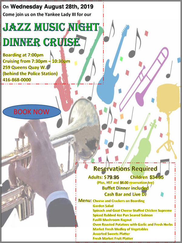 Flyer for our Jazz theme cruise.