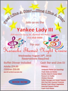 Flyer for our karaoke theme cruise with cruise details and graphics.