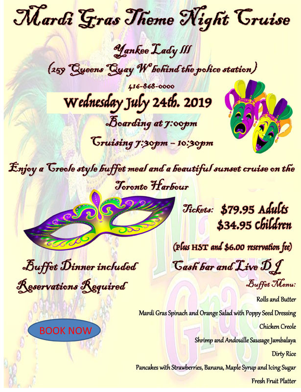 Flyer for our Mardi Gras theme cruise.