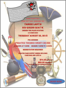 Flyer for pirate theme cruise with details and graphics.