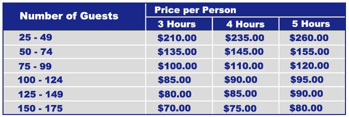 Pricing grid for prom and grad cruise.