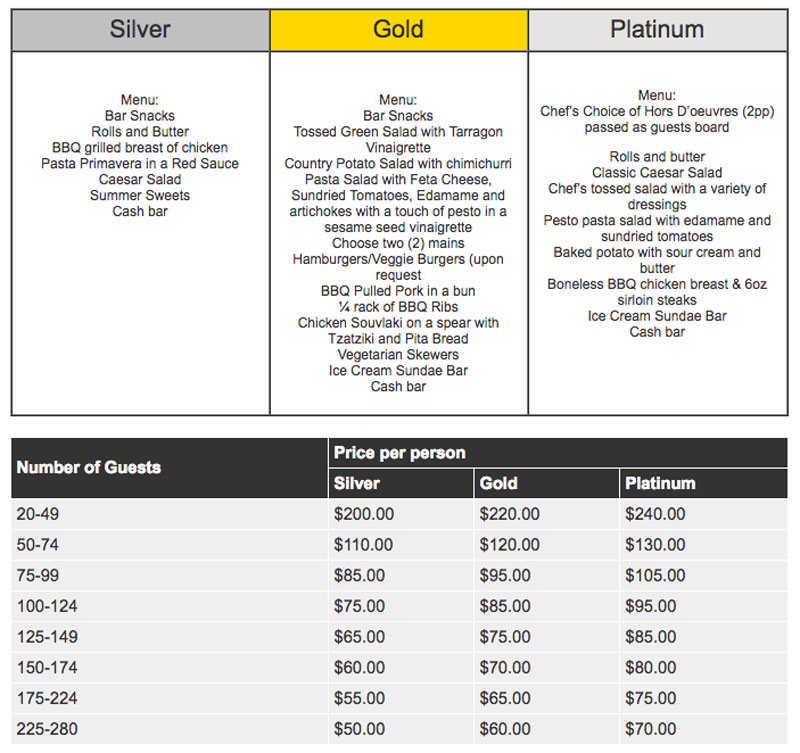 Weekday cruise menu and pricing grid for special cruises with silver, gold and platinum .