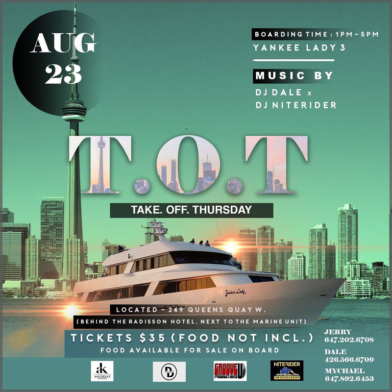 Flyer for the take off Thursday cruise of the Toronto Harbour.