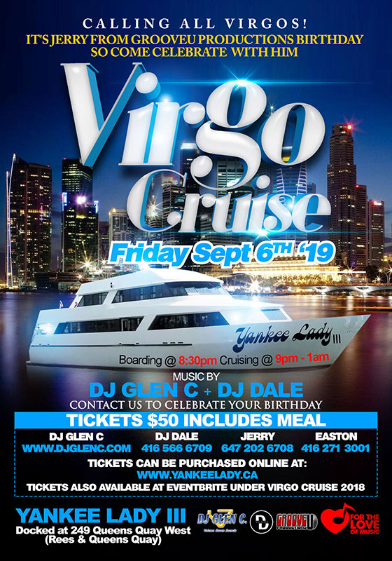 Flyer for the annual Virgo cruise showing cruise details and graphics.