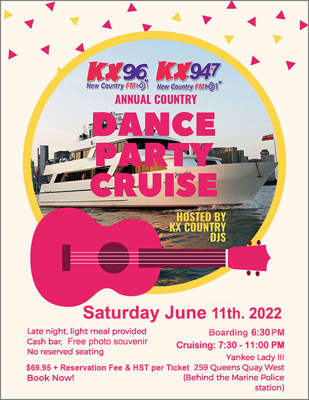 Flyer for the KX radio country party on July 5th.